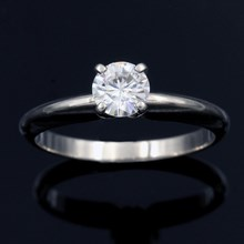 Simple Solitaire Engagement Ring - top view