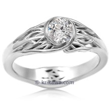 Tree Of Life Engagement Ring With Roots With Old Mine Cut Diamond