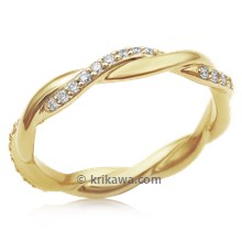 Tight Twisted Diamond Wedding Band In 18K Yellow Gold