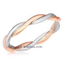 Tight Twisted Wedding Band In Rose Gold And Palladium
