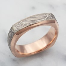 Cushion Shaped White Mokume Band With Beveled Edges