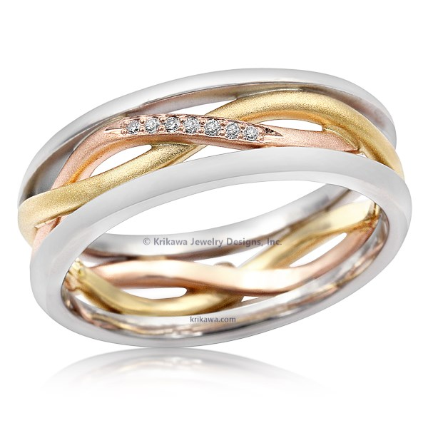 Tricolor Twist Wedding Band