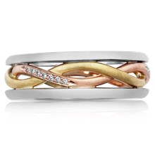 Tricolor Twist Wedding Band - top view