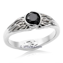 Tree Of Life Engagement Ring With Roots With Black Diamond