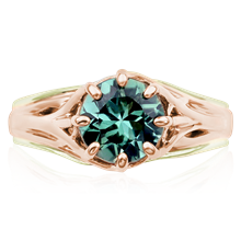 Embracing Tree Branch Two Tone Engagement Ring - top view