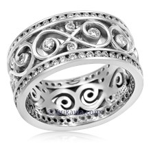 Double Diamond Ornate Infinity Wedding Band In Stainless Steel