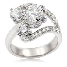 Brilliant Wave Three Stone Engagement Ring