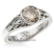 Tree Of Life Engagement Ring With Roots With Champagne Diamond