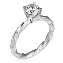 Millegrain Twist Engagement Ring