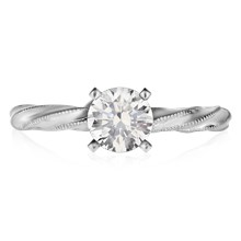 Millegrain Twist Engagement Ring - top view