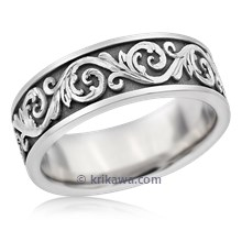 Darkened Western Floral Eternity Symbol Wedding Band