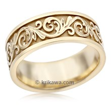 Western Floral Eternity Symbol Wedding Band In Yellow Gold