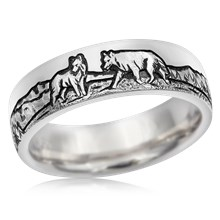 Mountain Wolf Wedding Band