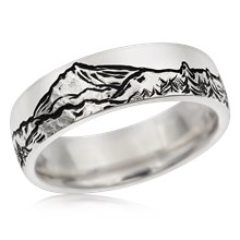 Mountain Wolf Wedding Band - top view