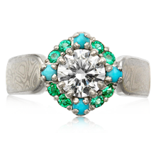 Turquoise Halo Engagement Ring - top view