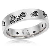 Techno Hex Wedding Band - top view