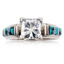 Turquoise Trilogy Engagement Ring - top view