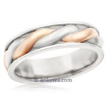 Twist Mens Two-Tone Wedding Band In Palladium And Rose Gold