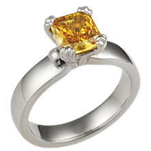 Carved Leaf Engagement Ring with Cognac Diamond
