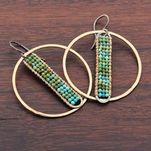 Beaded Turquoise PHI Hoop Earrings