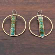 Beaded Turquoise PHI Hoop Earrings - top view