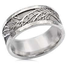 Hammered Rail Tree Of Life Wedding Band