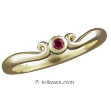 Carved Mini Curls Wedding Band with a Ruby
