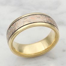 Millegrained Mokume Wedding Band In Yellow Gold