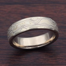 Winter Mokume Wedding Band In White Gold