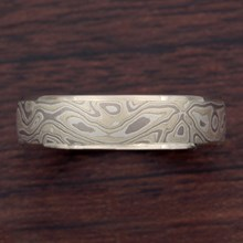 Winter Mokume Wedding Band In White Gold - top view