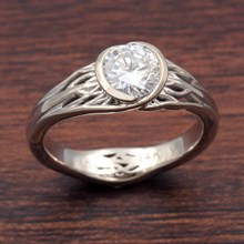 Tree Of Life Engagement Ring With Roots In White Gold