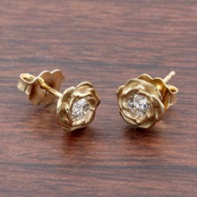 Medium Yellow Gold Rose Stud Earrings With Diamonds