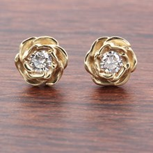 Medium Yellow Gold Rose Stud Earrings With Diamonds - top view