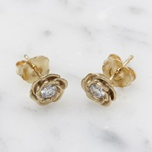 Medium Yellow Gold Rose Stud Earrings With Moissanites