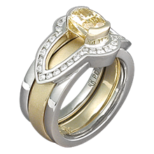 Brilliant Scaffold Ring with a Yellow Gold Band
