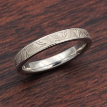 Platinum White Mokume Wedding Band