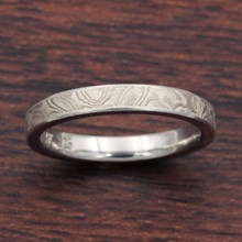 Platinum White Mokume Wedding Band - top view