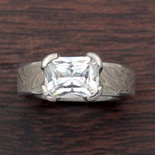 White Mokume Solitaire Straight Engagement Ring - top view
