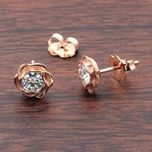 Large Rose Gold Rose Stud Earrings With Moissanites