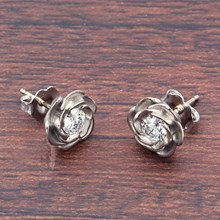 Large White Gold Rose Stud Earrings With Diamonds