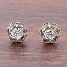 Large White Gold Rose Stud Earrings With Diamonds - top view