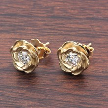 Large Yellow Gold Rose Stud Earrings With Moissanites