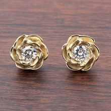 Large Yellow Gold Rose Stud Earrings With Moissanites - top view