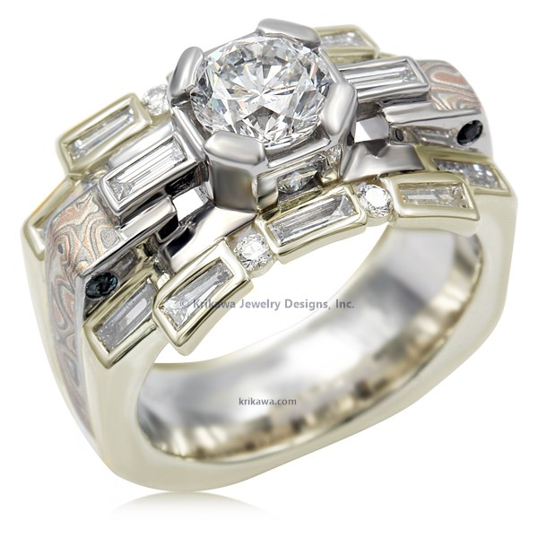 Art Deco Falling Water Engagement Ring