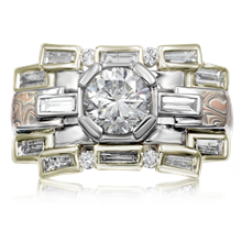 Art Deco Falling Water Engagement Ring - top view