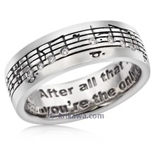 Musical Phrase Wedding Band With Moissanite Accents