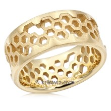 Hex Wedding Band In 18K Yellow Gold