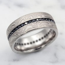 White Mokume Diamond Channel Center Wedding Band