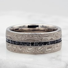 White Mokume Diamond Channel Center Wedding Band - top view