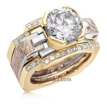 Mokume Falling Water Engagement Ring And Enhancer